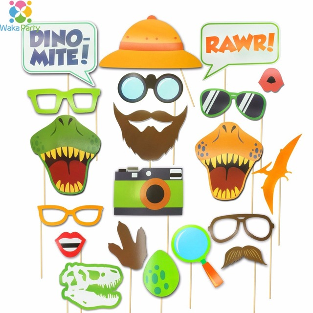 Aliexpress Com Buy Dinosaur Photo Booth Props 20pcs Diy Kits Happy