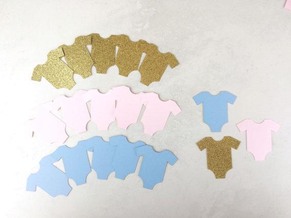 gender reveal party decorations onesie confetti baby shower ideas gold blue pink table decor scrapbook confettis