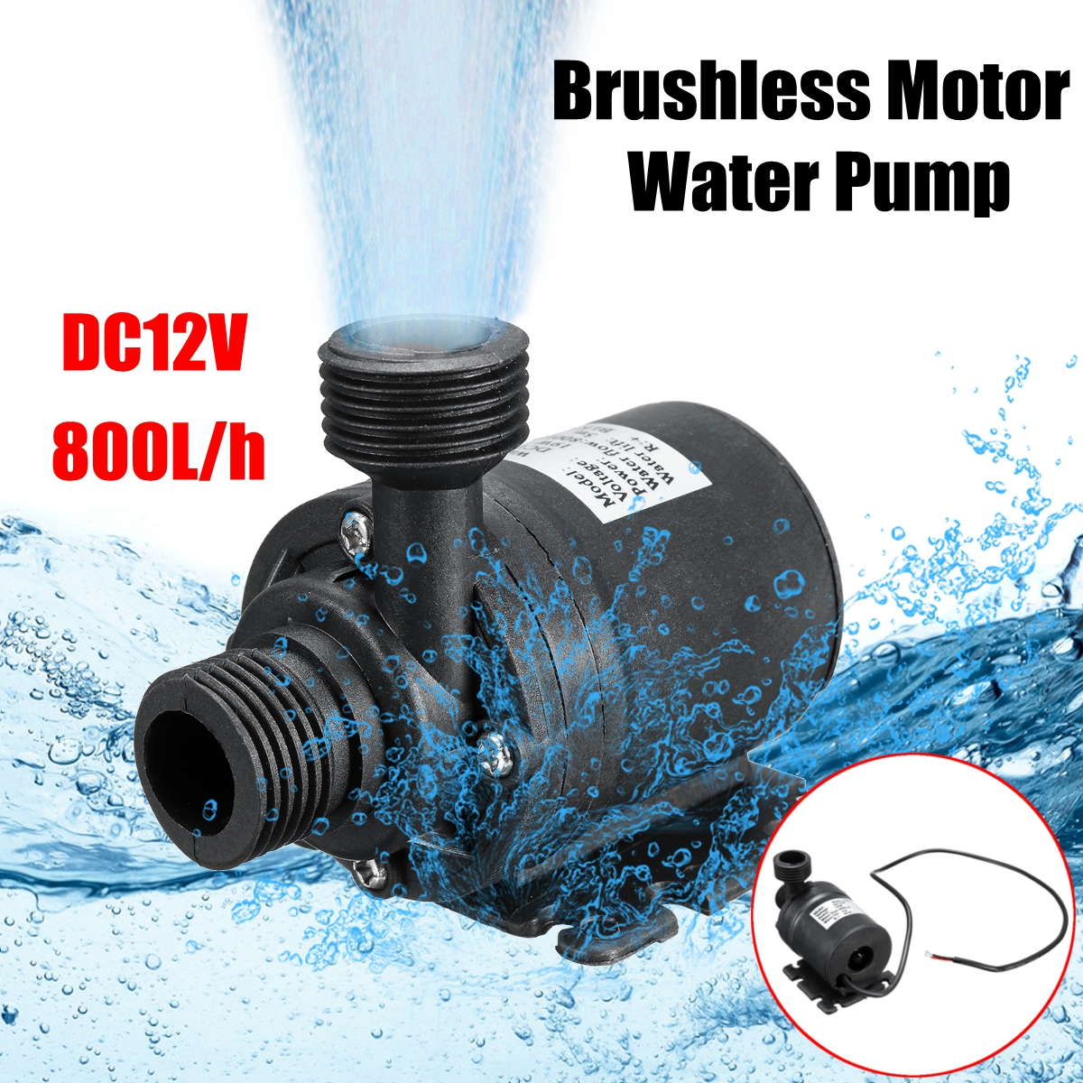 Waterproof DC 12V 5M 800L/H Portable Mini Brushless Motor Ultra-quiet Submersible Water Pump For Cooling System Fountains Heater