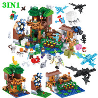 Creator Blocks Compatible LegoINGLY Minecraft Fortress Zombie Blocks Set Castle Village Guard Technic DIY Assembly Toys For Boys