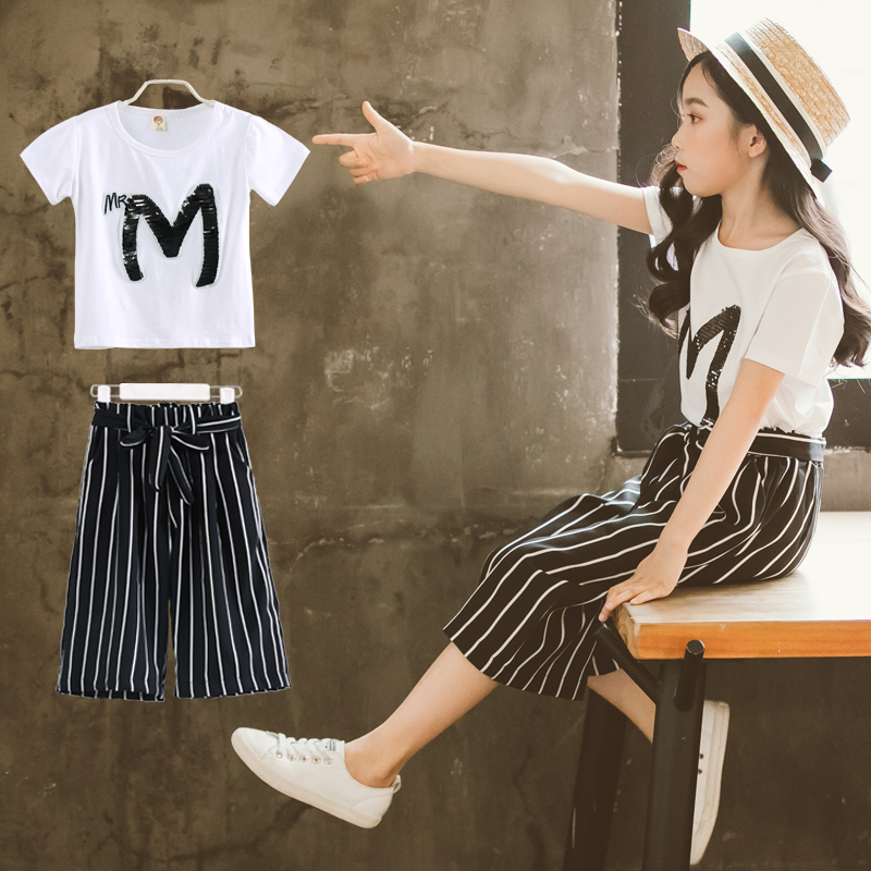 2pcs Toddler Girls Clothing Sets Outfits White Tops Tees T-shirts + Striped Pants Suits Teenage Girls Clothes Sets Summer 2018 2018 summer kids fashion girls clothing sets 2 pcs chiffon shirts pants suits for teenage girls clothes sets ensemble fille 12