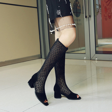Fashion Women's Boots peep toe booties Square Heel Boots Zipper Sexy Lace Mesh Boots Summer Cool Boots Breathable Women Shoes