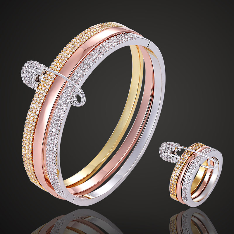 Zlxgirl Luxury brand Guangdong mix color plated bangle with ring couple jewelry sets cubic zircon bangle & ring jewelry sets