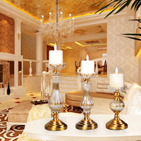 Chinese style candle holders golden glass crystal centerpieces candle holder candlestick faroles para velas wedding decoration