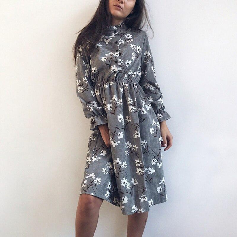 Corduroy High Elastic Waist Vintage Dress A-line Women High Quality Flower Plaid Print Dresses Slim Feminino 18 Colors