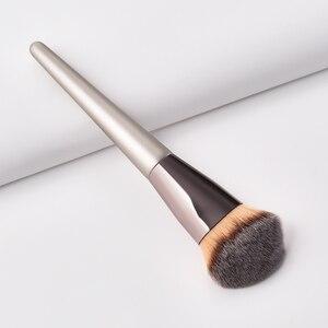 Image 5 - バレル 1 ピースシャンパンゴールド精度リキッドファンデーションブラシ完璧なプロテーパーバフ彫刻アングル化粧ブラシツール