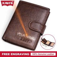 KAVIS Small Genuine Cow Leather Men Wallet Coin Purse Portomonee Walet PORTFOLIO Slim Gift For Male