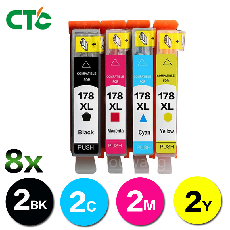 CTC 8X compatible ink cartridge for HP178 <font><b>178</b></font> XL for <font><b>hp</b></font> 5510 5515 6510 B109a B109n B110a B210b B209a B210a 3070A with chip image