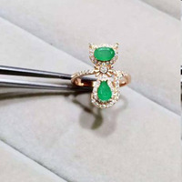 Qi Xuan_Fashion Jewelry_Colombian Green Stone Cat Rings_Rose Gold Color Colombian Green Stone Woman Rings_Factory Directly Sales
