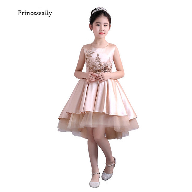 0a66a755b04 New Gold High Low Flower Girl Dress Satin Sleeveless Embroidery Beading  Short Front Long Back Formal Child Evening Party Gown