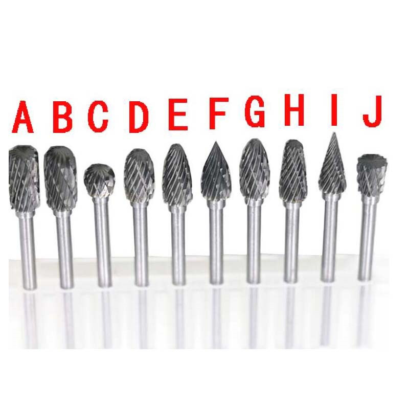 1/8 Tungsten Carbide Burr Rotary Drill Bits Tools Cutter Files Set Shank 10pcs tungsten carbide drill bits for metal burr tungstenio burs cnc milling cutter dremel mini cone drill set ferramentas