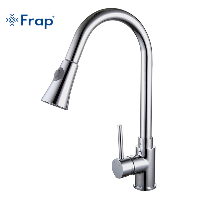 цены Frap the new Pull Out Brushed Nickel Kitchen Faucet Sink Mixer Tap Swivel Spout Sink Faucet Swivel Copper Kitchen Faucet F6052