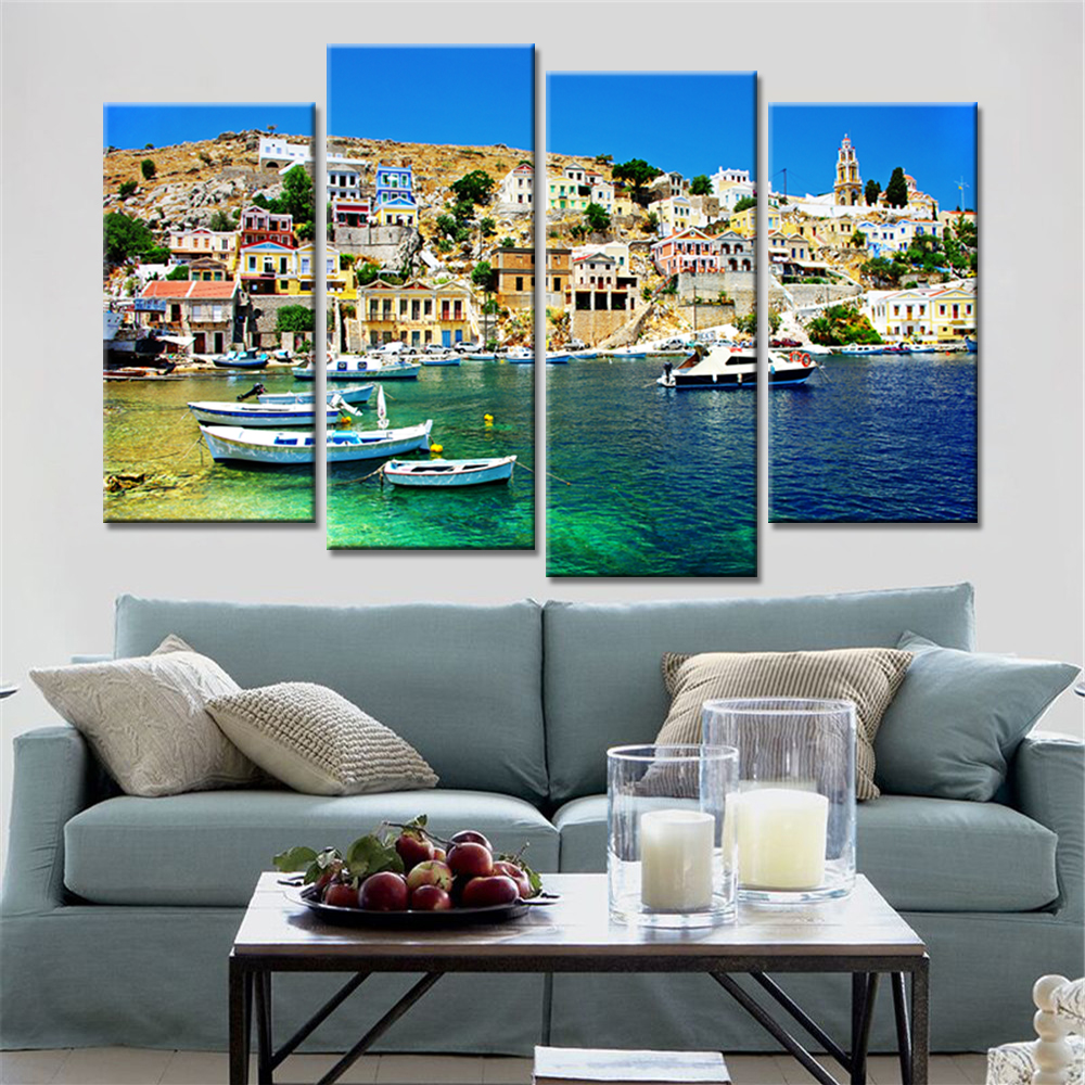 Direct Selling 4 Panels Coast Unframed Print Spray Paintings Poster on Wall Canvas Pictures for Living Room Home Decoration