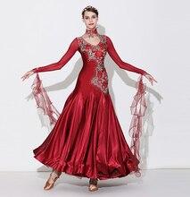 Standard Ballroom Dance Skirt 2019 Ladys New Design Long Sleeve Red Waltz Competition Dresses