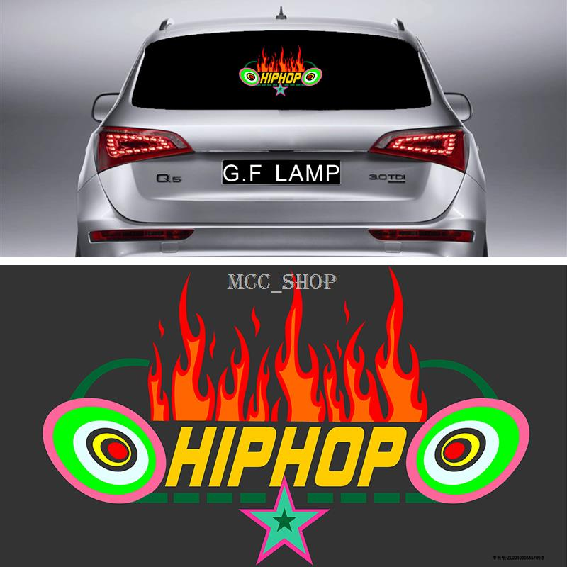 40*25cm Car Sticker Music Rhythm Fire LED Flash Light Sound Activated Equalizer