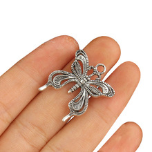 TJP 8pcs Antique Silver Tone Insect Butterfly Charms Pendants for DIY Necklace Jewelry Making Findings 24x25mm