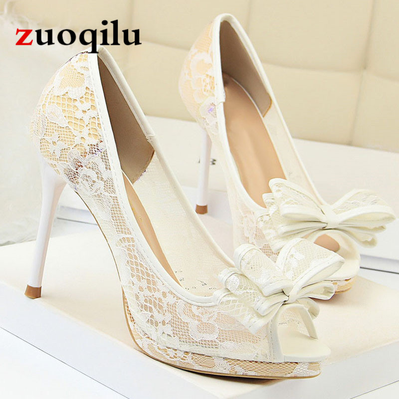 Sexy white wedding shoes bride shoes ladies peep toe high he