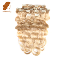 Addbeauty 120G Full Head Set Color 27 honey Blonde Body Wave Machine Made Remy Hair Clip In Human Hair Extensions