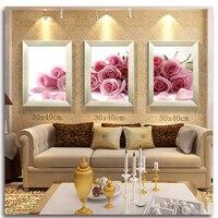 Pink roses Diamond Painting Cross Stitch Flower 5D Diamond Mosaic Triptych Diy Kit Embroidery With Diamonds Picture Rhinestones