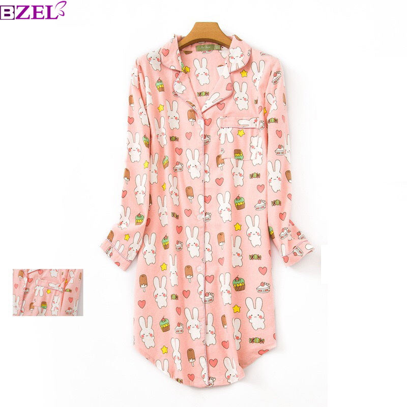 Cartoon pink rabbit   Sleepshirts   Women Nightdress Spring Summer Sexy   Nightgowns   100% Cotton Female Sleepwear Homewear Negligeen