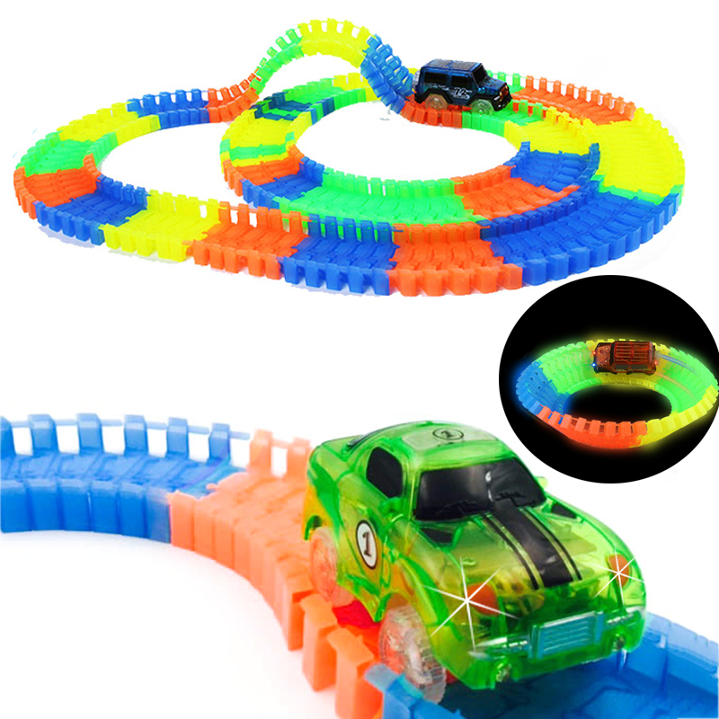 Railway Magical Luminous Racing Flexible Track Play Set Bend Glow In Dark Electronic Light Car Race Track DIY Toys For Children