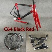 UD mat parlak siyah kırmızı Colnago C64 karbon yol çerçeve + gidon + eyer + şişe kafesleri + 50mm karbon tekerlek Novatec A271 hub