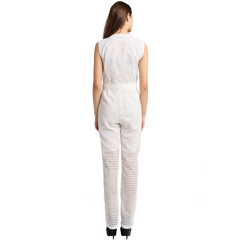 Et Body Avec Haute 2016 Taille Blanc Quotidien Élégant Usage Coton Sans Ensemble T Salopette Manches Motif Femmes à L'intérieur Évider SFxP6q6z