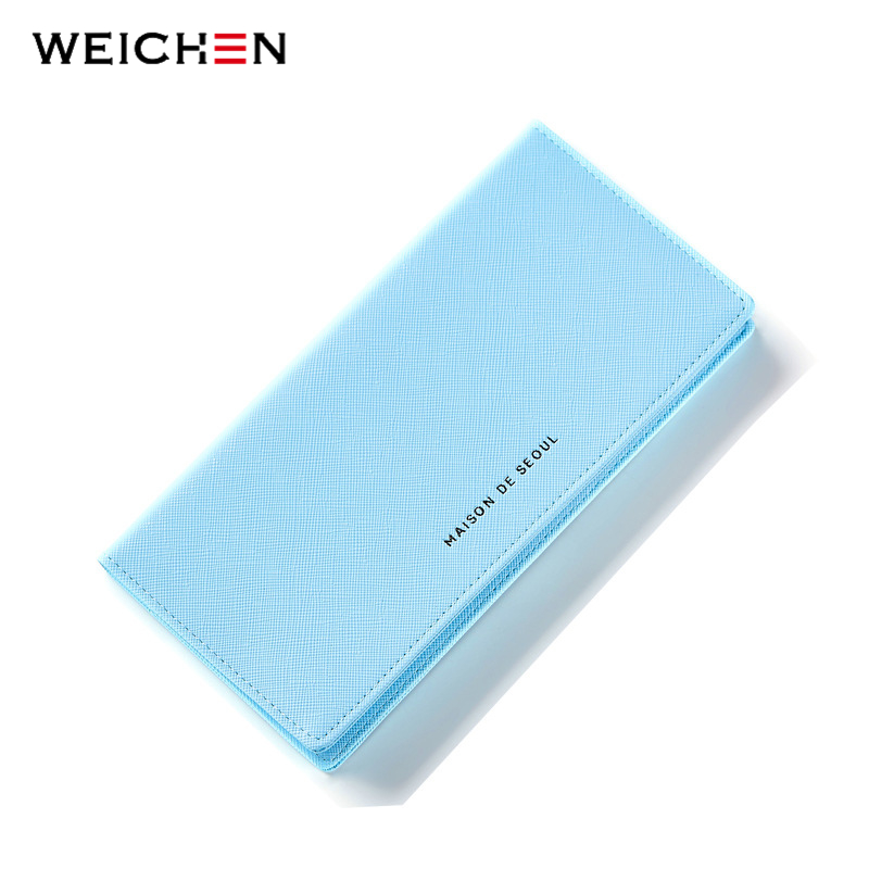 WEICHEN Super Thin Card Holder Long Wallets Purses For Women Hasp Solid Casual Blue Wallet Brand Designer Money Purse casual weaving design card holder handbag hasp wallet for women