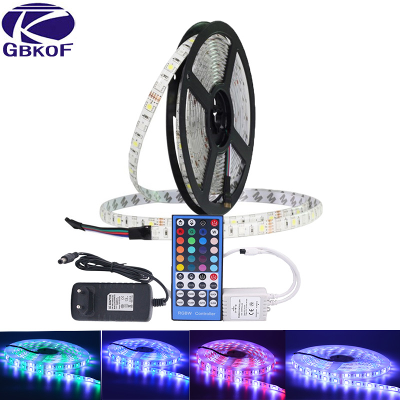 SMD 5050 RGB LED Strip Waterproof DC 12V 5M 300LED RGBW RGBWW LED Light Strips Flexible 10M led tape with Remote Control+adapter
