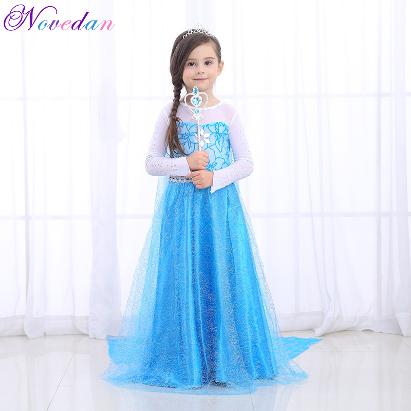High-quality Fancy Princess Elsa Costume Cosplay Dress Christmas For Girls Clothing Baby Role Play Halloween Dresses With Crown