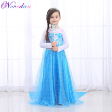 High-quality Fancy Princess Elsa Costume Cosplay Dress Christmas For Girls Clothing Baby Role Play Halloween Dresses With Crown high quality fancy princess elsa costume cosplay dress christmas for girls clothing baby role play halloween dresses with crown