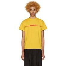 2016 sommer Unisex Baumwolle T-shirt Kuso DHL Logo Gedruckt gelb Kurzarm Top Tees Casual Damen und Herren Shirts WS963