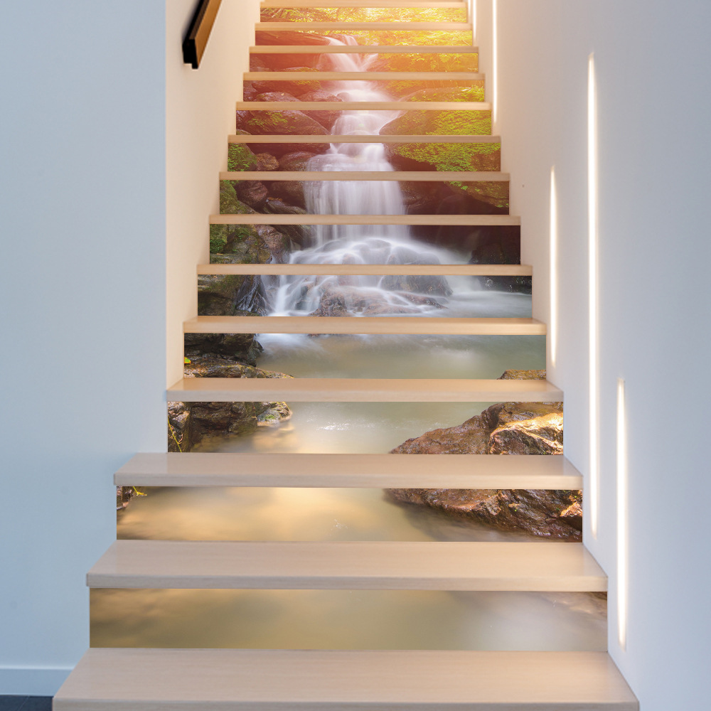 Big Szie 13pcs/set Tiles Waterfall Wooden Bridge Books Houses Stair Riser  Stickers Decals Home Decor Wholesale Wall Stickers In Wall Stickers From  Home ...