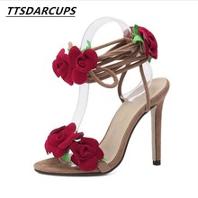 TTSDARCUPNew pattern  Star same style Sandals Red rose flower Cross frenulum High-heeled Womens shoes pump Big code 35-42