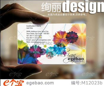 one sided printing Custom business cards visit card printing transparent /White ink PVC Business Cards NO.2181