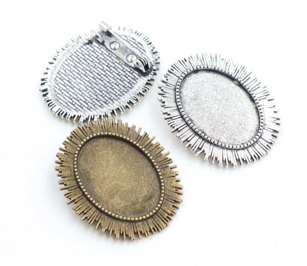 3 шт. 18×25 мм внутренняя Размеры старинное серебро бронза два Цвета Броши Pin классический Стиль Камея Кабошон База Установка
