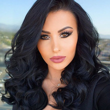 Youtube Popular Selebrity Long Bouncy Soft Body Wave Natural Black Off Heat Resistant Hair Synthetic Lace Front Women Wigs