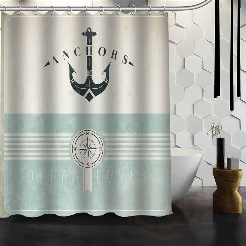 Funny Anchor Home Decoration Fabric Modern Classical Custom Shower Curtain bathroom Waterproof Eco-Friendly