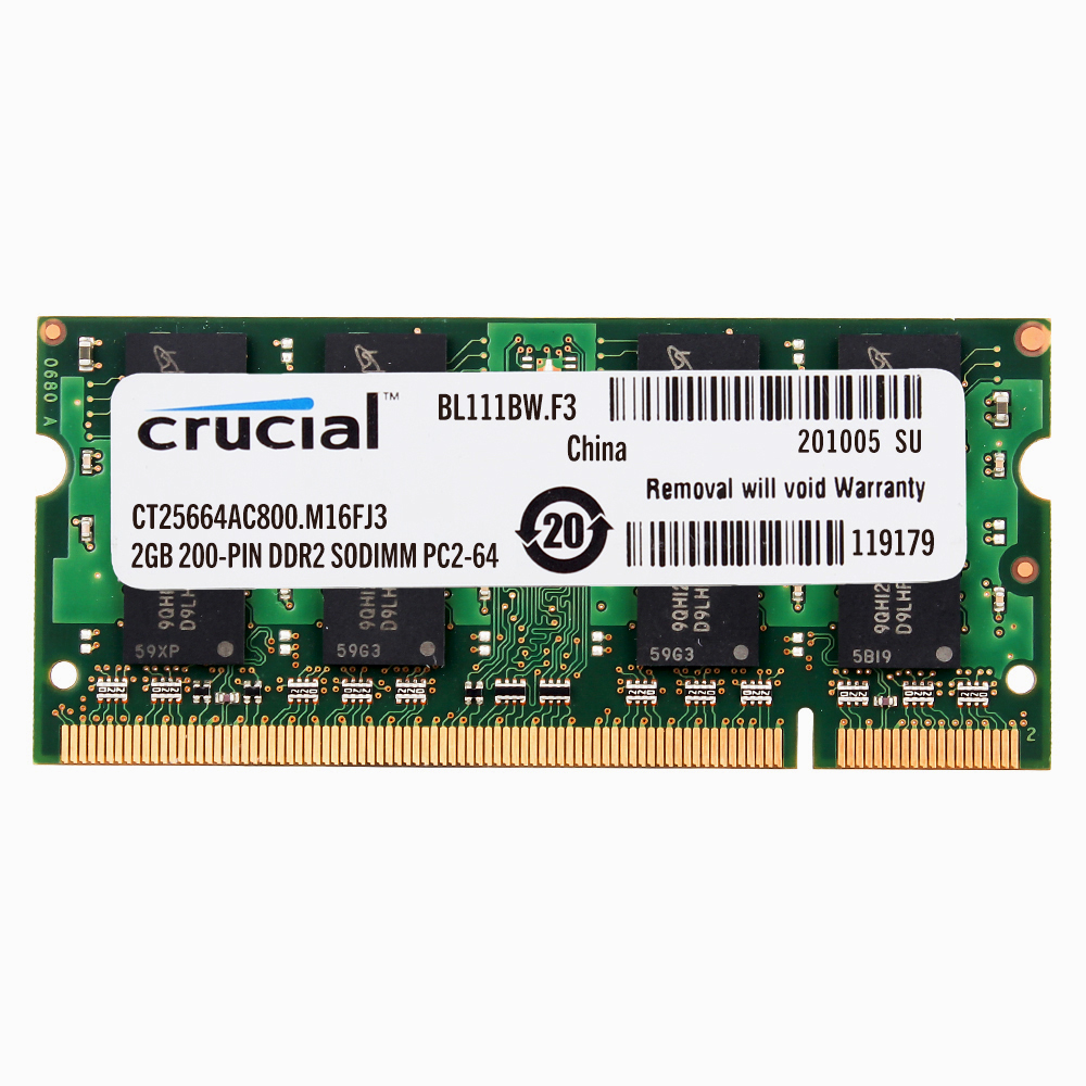 4 GB Crucial 4GB 2X 2GB 2 G DDR2 PC2 6400 800mhz 200pin Sodimm RAM Laptop Memory