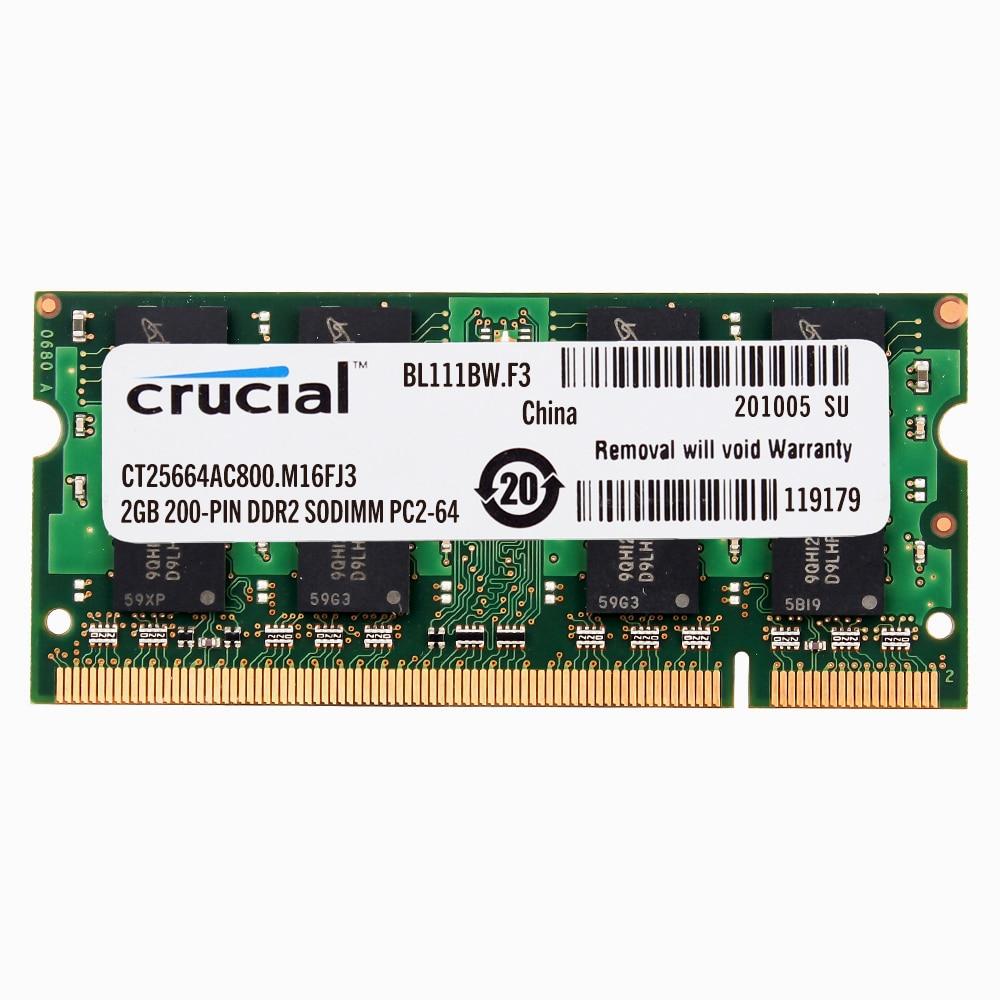 Crucial Laptop Memory DDR2 800/667/533 DDR2 1GB 2GB  Laptop RAM 4GB=2PCS 2G PC2-6400 /5300 S MHZ 1.8V
