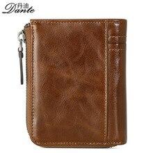 Dante New Vintage Echtem Leder Herren Brieftaschen Männlichen Bifold Geldbörse Kleine Dollar Brieftasche Rindleder Bifold Geldbörse Kartenhalter