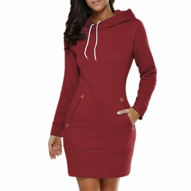 Oufisun 秋冬ヴィンテージの女性のドレス 2019 パッケージヒップ長袖フード付きドレスファッションポケットセクシーなショートドレス Vestidos