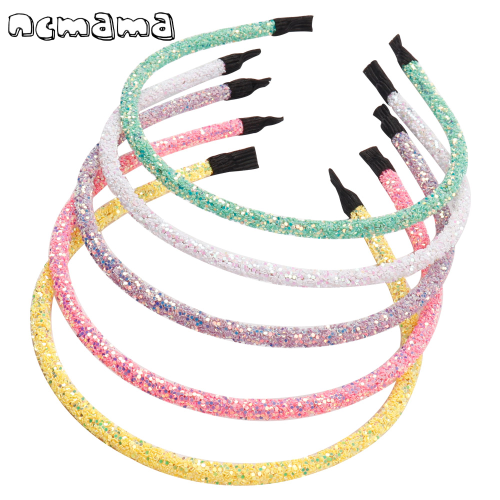 Ncmama 5 Pcs/lot Hair Accessories Bling Glitter Hairband For Girls 5 Inch Korean Solid Candy Color Women Hair Hoop Headbands