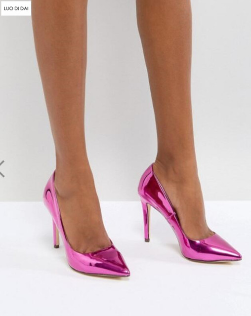 3145768721db 2019 New summer women mirror leather high heels hot pink pumps thin heel  party shoes slip on pumps point toe dress shoes