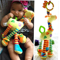 Plush Infant Baby Development Soft Giraffe Animal Handbells Rattles Handle Toys Hot Selling WIth Teether Baby