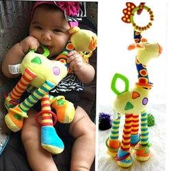 Desenvolvimento do bebê infantil de pelúcia macio girafa animal handbells chocalhos lidar com brinquedos venda quente com mordedor brinquedo do bebê