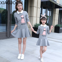 XiaGuoCai Autumn Family Matching Outfits Mother And Daughter Girl Dress Doll Collar Cartoon Pattern Lovely Clothes