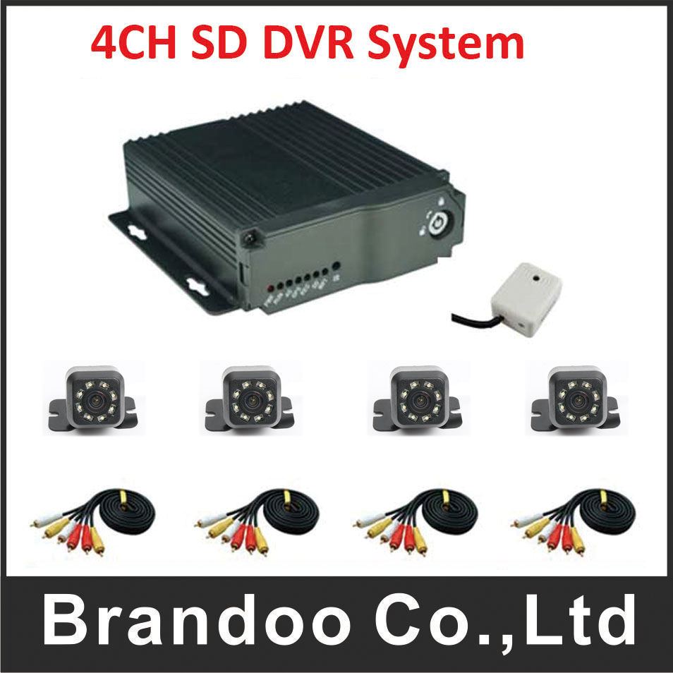 video surveillance bus DVR,4 channel Car dvr kit with 4pcs mini IR car camera for car ,taxi use. inexpensive 4 channel mdvr car vehicle dvr for taxi bus with 4 pcs 5 meters