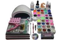 Pro Soak off Gel polish Top & Base Coat gel nails polish kit 48w nail lamp 36 colors art tools sets manicure set #N311