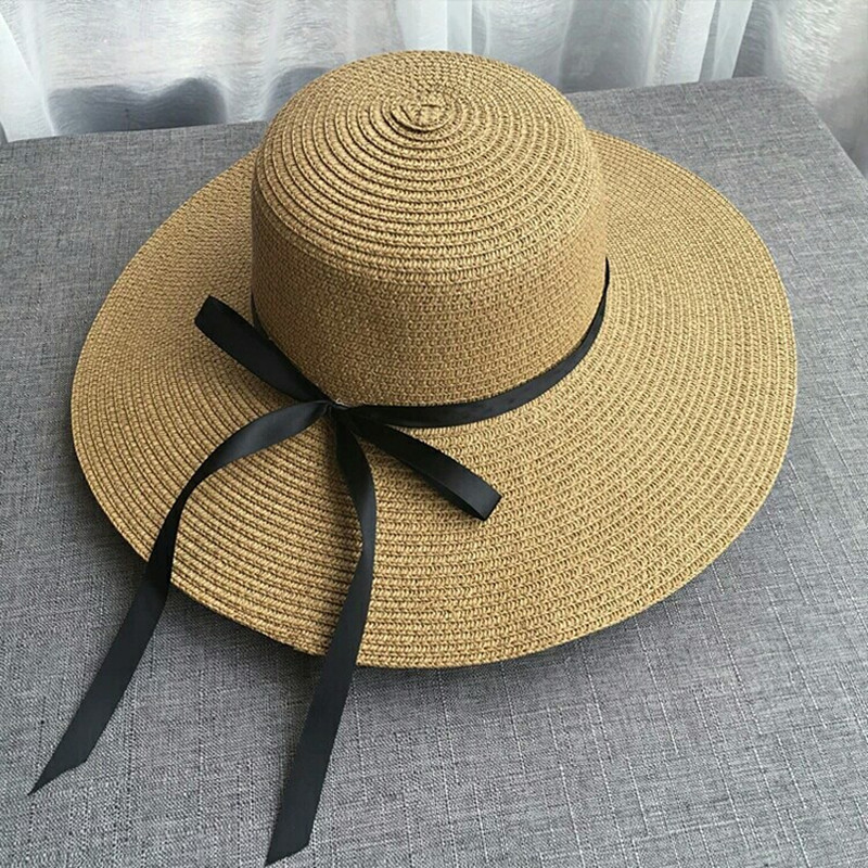 2019 Hot Sale Round Top Wide Brim Straw Hats Summer Sun Hats for Women With Leisure Beach Hats